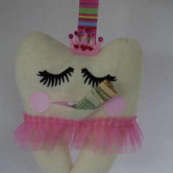 ChristmasinJulySALE Sweet pink tooth fairy pillow for a girl