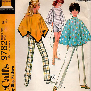 McCall's 60s Retro Sewing Pattern 9782 Boho Hippie Style Poncho Pullover Cape Summer Shorts Straight Leg Pull Up Pants Uncut Size 10 Bust 32