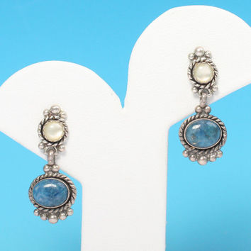 Southwestern Style Earrings Posts Faux Moonstone and Lapis Signed QT Vintage