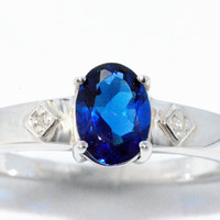 1.5 Carat Blue Sapphire Oval Diamond Ring .925 Sterling Silver Rhodium Finish White Gold Quality