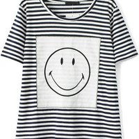 Black and White Striped Short Sleeve Emoji Smile Print T-Shirt