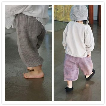 Summer baby ruffle bloomers boys harem pants girls High quality cotton trousers kids Loose and comfortable wide-legged pants