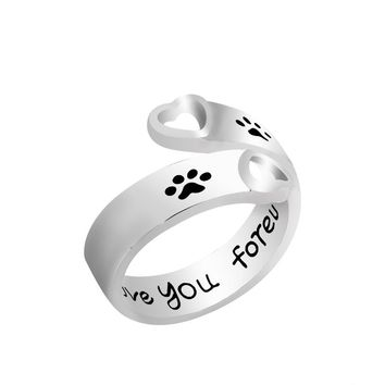 """Dog Paw Print Ring With Hand Stamped """"I will love you forever"""""""