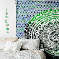 Green Tapestry Mandala Boho Bohemian Bedspread Throw