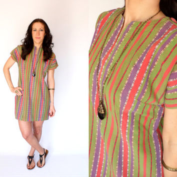 Vintage Ethnic Stripe Green Mini Dress