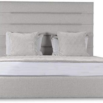 South Cone Home AUDBEDHCMIDQN/WHT Audrey Horizontal Channel Tufting Bed, Queen, White