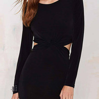 Knot Front Cutout Dress in Black