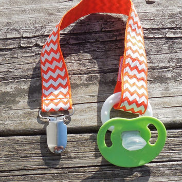 Chevron Ribbon, Orange Pacifier Holder, Binky Clip, Pacifier Clip or Toy Clip