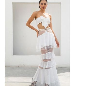 Justine- White Strapless Lace Two-Piece Set