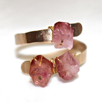 Rustic Pink Tourmaline Ring Modern Ring Three Stone Ring Tourmaline Nugget Ring Gold Ring Adjustable Ring Tourmaline Jewelry Delicate Ring