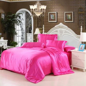 iDouillet Solid Color Silk Satin Bedding Set (Duvet Cover Bed Flat or Fitted Sheet Pillowcase) Twin Queen King Size Home Textile