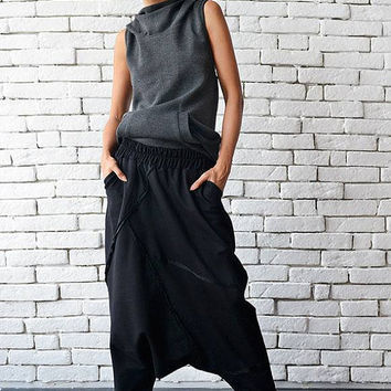 Extravagant Black Pants/Loose Casual Pants/Comfortable Drop Crotch Pants/Oversize Harem Pants/Wide Leg Hippie Pants/Long Black Trousers