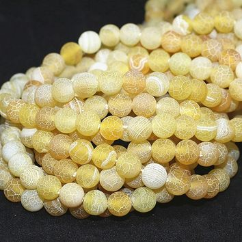 Natural Stone Yellow Weathered  Agate Round Loose Beads Pick Size 4/6/8/10/12MM For Jewelry Making DIY
