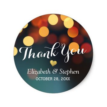 Teal Gold Bokeh String Lights Wedding Thank You Classic Round Sticker