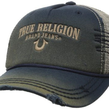 True Religion Men's Trucket Cap, Navy, One Size