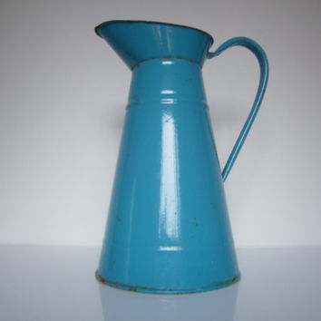 vintage french old pitcher metal enamelled blue //french country farmhouse//rustic home decor//french country home decor//