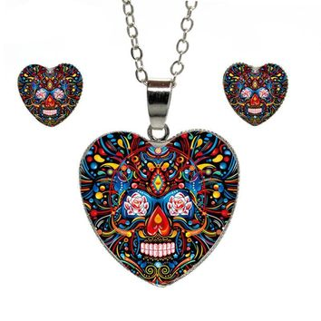 Vintage Mexican Sugar Skull Heart Pendant Necklace Silver Color Chain Jewelry Set