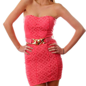 Strapless Laced Sweatheart Sheath Dress in Coral