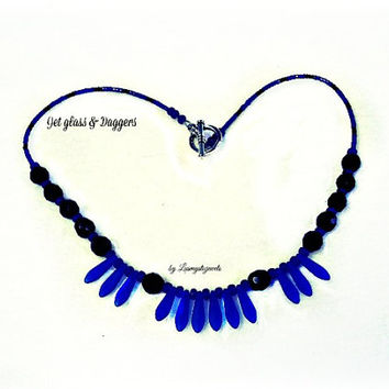 Black and Blue Statement Necklace, Black Jet Glass and Blue Dagger Necklace,Recycled Necklace, Bib Necklace Hipster Necklace,Direct Checkout
