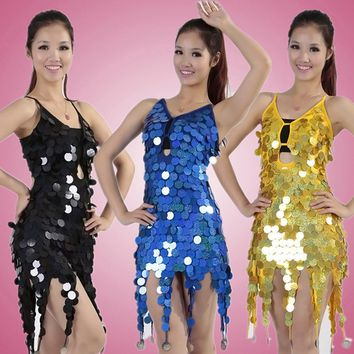 Female Party Club Costumes Asymmetric Latin Dance Sequin Fringe Dress Coins Keyhole Backless Lace-Up Bandage Mini Short Dress