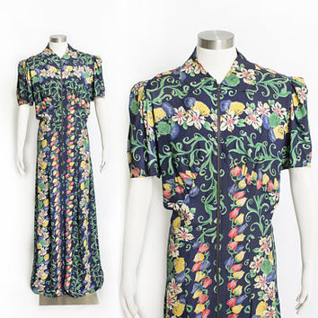 Vintage 1940s Dressing Gown - Tulip Floral Navy Cold Rayon Full Length Dress - Extra Large