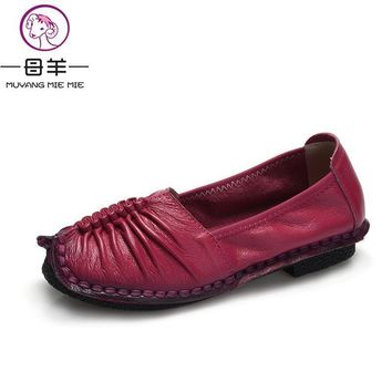 2017 Fashion Loafers Women Shoes Genuine Leather Shoes Handmade Soft Comfortable Flat