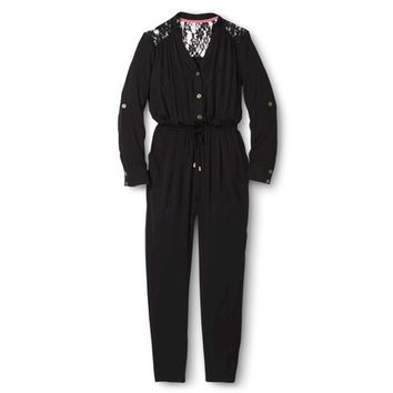 Junior's Lace Panel Jumpsuit Black