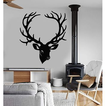 Vinyl Wall Decal Deer Head Horn Forest Animal Gift For Hunter Stickers (2485ig)