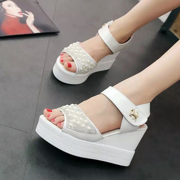 Design Summer Shoes Stylish Wedge Waterproof Thick Crust Pearls With Heel Sandals [9432944714]