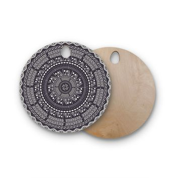"Famenxt ""Swadesi Boho Mandala"" Black Illustration Round Wooden Cutting Board"