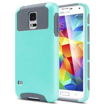 Galaxy S5 Case, ULAK S5 Case Fashion 2 in 1 Hybrid Dual Layer Protective (Plastic Hard Shell and Fexible TPU) Slim Case for Galaxy i9600 (Light Blue/Gray)