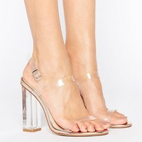 Public Desire Estella Clear Strappy Heeled Sandals at asos.com