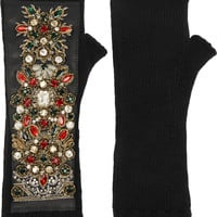 Dolce & Gabbana - Embellished leather-paneled cashmere-blend fingerless gloves