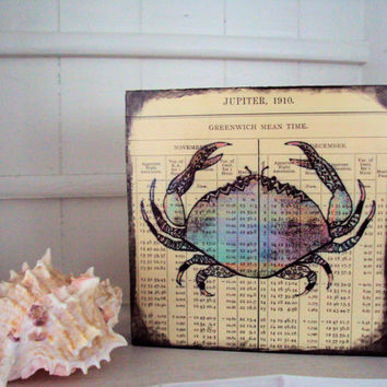 Nautical Sea Crab Art Wood Block Printed on Vintage Almanac