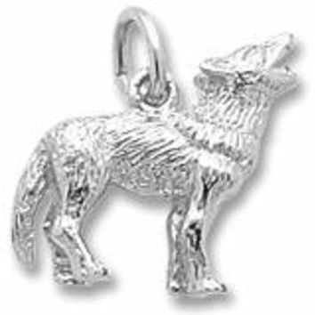 Wolf Charm In Sterling Silver