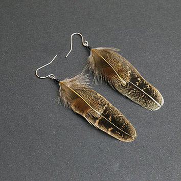 Brown earrings Light brown feathers Pheasant Feathers Tribal feathers Boho feather Natural earrings Classy earrings Cowgirl jewelry Hippie