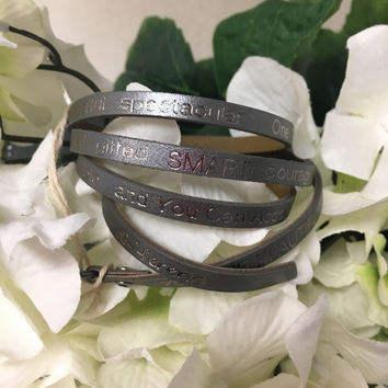 """""""You Are Beautiful..."""" Wrap Around Good Works Bracelet in Graphite"""