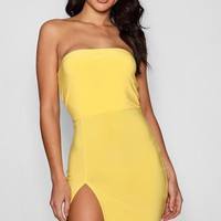Alison Thigh Split Bandeau Bodycon Dress | Boohoo