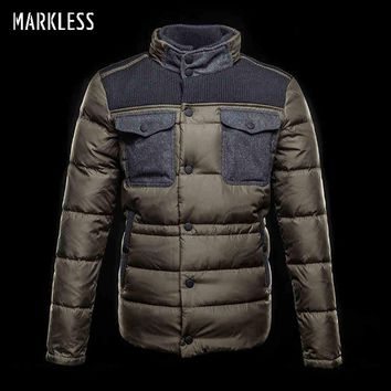 Men Thick Jacket Down Clothing Casual Knit Patchwork Down Coats Male Winter Outerwear