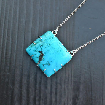Turquoise Prong Set Necklace, rectangle turquoise, square pendant necklace, geometric pendant, large silver pendant, chunky turquoise, claw