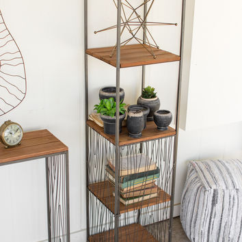 Recycled Wood & Iron Tower Shelf Unit with Wire Woodgrain Detail