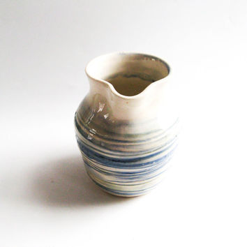Small Pitcher, Ceramic Creamer, Small Cream Pitcher - Green & Blue Handmade Pottery