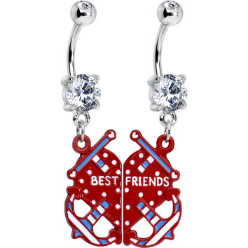 Clear Gem Heart Anchor Best Friends Dangle Belly Ring Set
