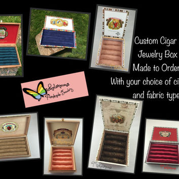 Custom Cigar Boxes Jewelry Box, Ring, Stud Earring & Cuff Link Holder, Made to Order, Ring, Cufflink and Jewelry Display by Michelaneous