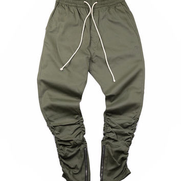 Slim Ruched Joggers With Ankle Zipper