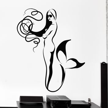 Wall Vinyl Decal Fashion Girl Mermaid In Glasses Bathroom Home Interior Decor Unique Gift z4180