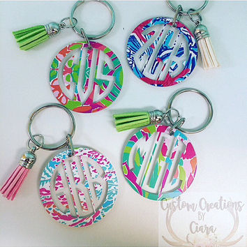 Lilly Pulitzer Inspired Monogram Key chain 2 Inch - Key chain - Perfect Gift -Monogrammed  - Lilly - Keys - Pattern - Preppy - Personalized