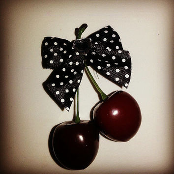 Cherry Bow barrette, cherry bow bobby pin,rockabilly,  black and white polka dot bow, red and white polka dot bow, cherry bow