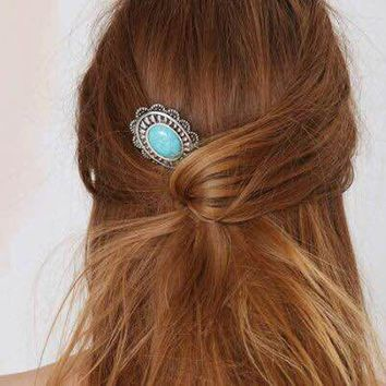 Retro Turquoise Alloy Sunflower Barrette Hair Pin