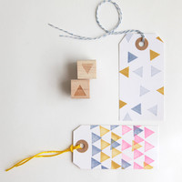 """Geometric Triangles and Polka Dots Rubber Stamps (Wood Mounted) Abstract Design Set of 2, Mini Duos 1/2"""" size (M8A-8B)"""